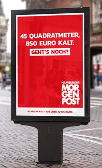 An möglichst hochfrequentierten Orten hat die Hamburger Morgenpost aufmerksamkeitsstarke rote Motive platziert/ Foto: Mopo